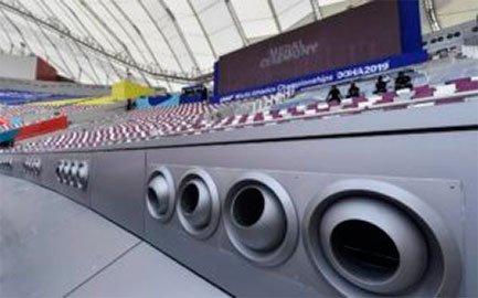 Aires acondicionado en estadios de futbol de Qatar.